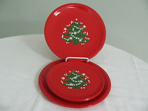 4 WAECHTERSBACH CHRISTMAS TREE PLATES - 2 DINNER & 2 SALAD DESSERT