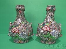 Vintage Copeland Spode Vase Pair Black King Floral Chintz RARE