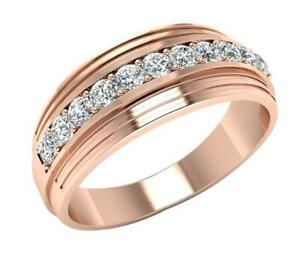 Men's Wedding Ring VVS1 E 0.55 Carat Round Cut Diamond 14K Rose Gold 7.70MM