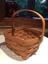 Longaberger 1986 Vintage Square Berry Basket Handwoven /Swinging Handle Reduced
