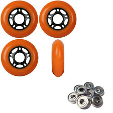 Inline Skate Wheels 76mm 89A Outdoor Orange Rollerblade 4Pk with Abec 5 Bearings