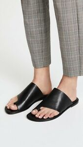 NEW $250 Vince Edris Black Toe Strap Flat Leather Sandals Size 6.5 Made In Italy
