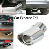Car Exhaust Tail Muffler Tip Chrome Stainless Steel Pipe Round Silver Universal