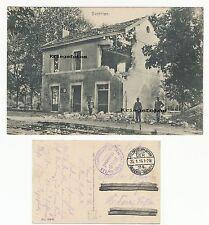 Dontrien Frankreich alter Bahnhof Ruine Gebäude Schild  Feldpost Postkarte 1 WK