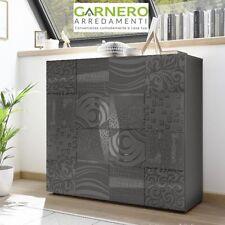 Mobile madia contenitore MIRO grigio laccato lucido serigrafato 2 ante moderno