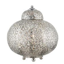 Searchlight 8221-1SS Moroccan Shiny Nickel Table Lamp With Patterned Finish