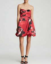 Aidan Mattox Red Strapless Satin Floral Print Bubble Skirt Cocktail Dress Size 6