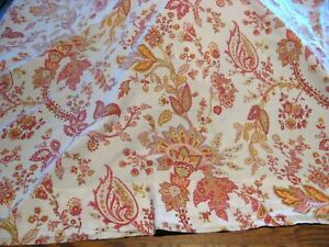 B&B POTTERY BARN White w/ Red/Orange/Green/Yellow Abstract Floral Flat Sheet - K