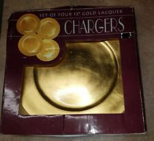 "NEW IN BOX CHARGERS 13"" GOLD LEAF LACQUER FINISH ACRYLIC PLATES 4CT"