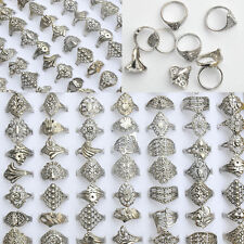 50Pcs Vintage Tibet Flower Silver Rings Wholesale Mixed Lots Costume Jewelry New