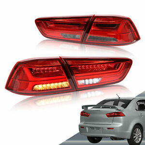For 08-17 Mitsubishi Lancer RED Smoke Sequential Signal LED Tail Light Pair