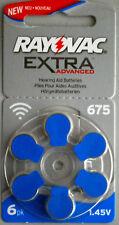 6 x Rayovac Extra Advance Zink-Luft 675 V675PX Hörgeräte 1,4V