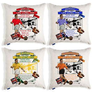 Personalised Vintage Football Cushion Cover Fan Pillow Dad Christmas Gift VFC