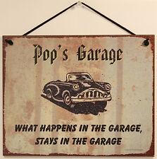 Pop's Garage 8x10 Sign Grandpa Grandfather Car Shop Mechanic Worker Father Dad