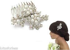 Linda Flor Diseño Peine de Cabello Perlas Cristales de diapositivas en tono plata nupcial