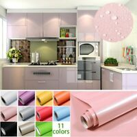 Waterproof PVC Cabinet Wallpaper 1M/Roll Glossy Self Adhesive Contact Paper new