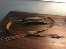 Vintage BROWN leather camera Satchel strap With Black Shoulder Pad Rustic