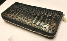 GENUINE CROCODILE WALLETS SKIN LEATHER BELLY ZIPPER WOMEN'S BLACK CLUTCH BAGS