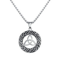 Celtic Triquetra Round Pendant Silver Chain Necklace Jewelry Stainless Steel