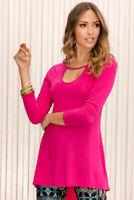 BOSTON PROPER Keyhole Tunic Top Womens Size Small Pink Soft Stretch Knit Hi Lo