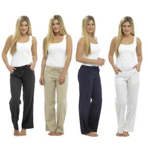 Womens Ladies Linen Trousers Full Length UK Size 10 12 14 16 18