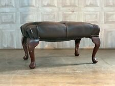 Brown Leather Chesterfield Footstool