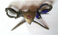 Antique Military Sword and Shield Sterling Lapel Pin with Garnet, ca. 1850