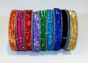 """Glitter Sparkle Ribbon 5mm (1/4"""") wide 2m or 5m lengths 9 Bright Colours"""