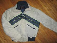 vtg YAMAHA WINTER JACKET Snow Mobile Ski Coat Nylon Bllue Neon Green Ladies LG