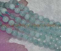 "Grayish Blue 6mm Faceted Brazilian Aquamarine Gems Round Loose Beads 15"" Strand"