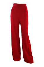 BRANDON MAXWELL Red Crepe Wide Leg High Waist Trousers (0)