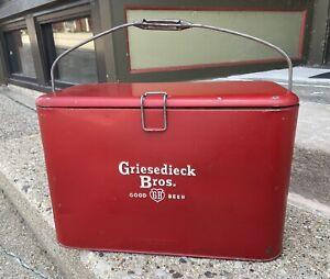 Vintage Griesedieck Beer Cooler 1940s-1950s Red Metal By Peerless Refrigerator
