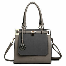 Ladies Celebrity  Leather Tote Bag Padlock Shoulder Satchel Handbag GREY