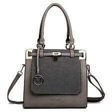 Ladies Celebrity  Leather Tote Bag Padlock Shoulder Satchel Handbag GREY