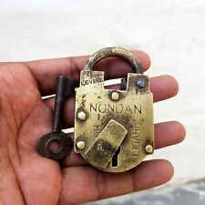 1920's Old 4 Lever NONDAN ALIGARH Victorian Brass Pad Lock, Good Working #010