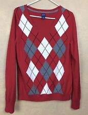 Izod Argyle Cotton Golf Sweater Red Gray White Long sleeve V Neck Size L