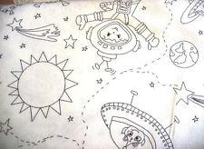 Stoff zum Ausmalen Malen Weltall Raumschiff Baumwollstoff 0,5 m Patchwork