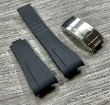20mm BLACK Vulcanized Rubber Strap Band Fits Rolex Watch Yachtmaster 116622