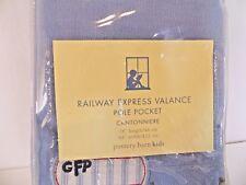 New Pottery Barn Kids Railway Express Train Blue 44 x 18 Lined Valances Nip
