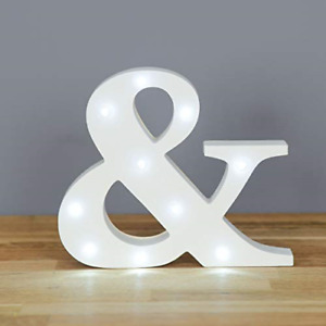 Up in Lights Decorative LED Alphabet White Wooden Letters &