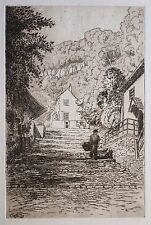 Etching attrib. to Cecil Tatton-Winter (1895-1954) Clovelly steps. Landscape.