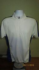 Large PT Sports Wear 1/2 Half Zip Raglan Short Sleeve Cycling Jersey Shirt White