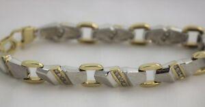 """Brushed Sterling Silver & 10K Yellow Gold CZ Link Bracelet 7 3/4"""""""