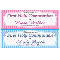 2 PERSONALISED FIRST HOLY COMMUNION BANNERS - WELCOME TO THE 1ST HOLY COMMUNION