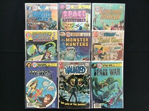 CHARLTON Lot of 9 Comic Bks - Ghostly Haunts & Tales, Space Adv & War, Haunted+!