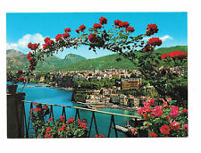 Italy Sorrento Birds Eys View Panorama Roses Vtg Postcard 4X6