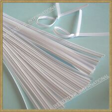 "100pcs wire free twist ties  for bakery cello bags - 5"" White"