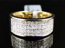 Mens 14K Yellow Gold Princess Cut Diamond Wedding 9 Mm Band Ring 2.5 Ct