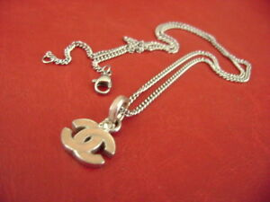 Chanel CC Logo pink face Crystal Pendant Chain Necklace
