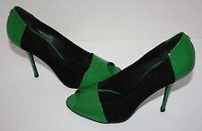 Womens GUCCI Bacall Color-Block Black Green Peep-Toe Heels Size 8.5 B
